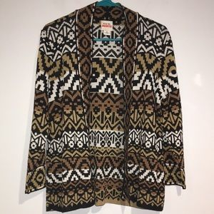 Ruby Rd. Aztec multi color open front cardigan